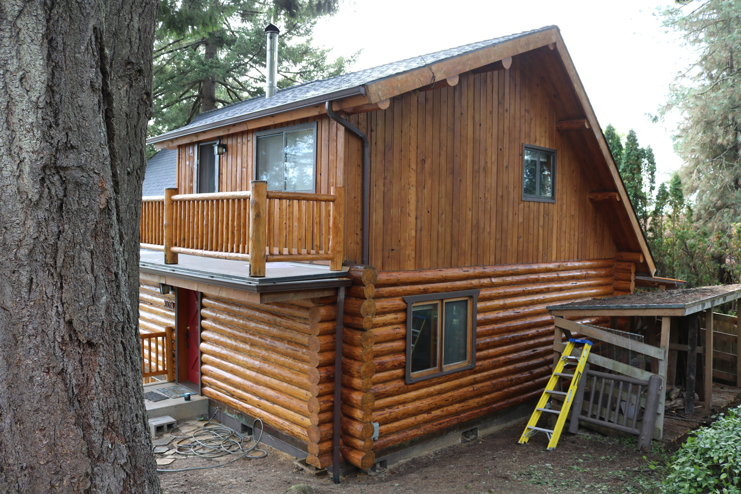 12a log home staining
