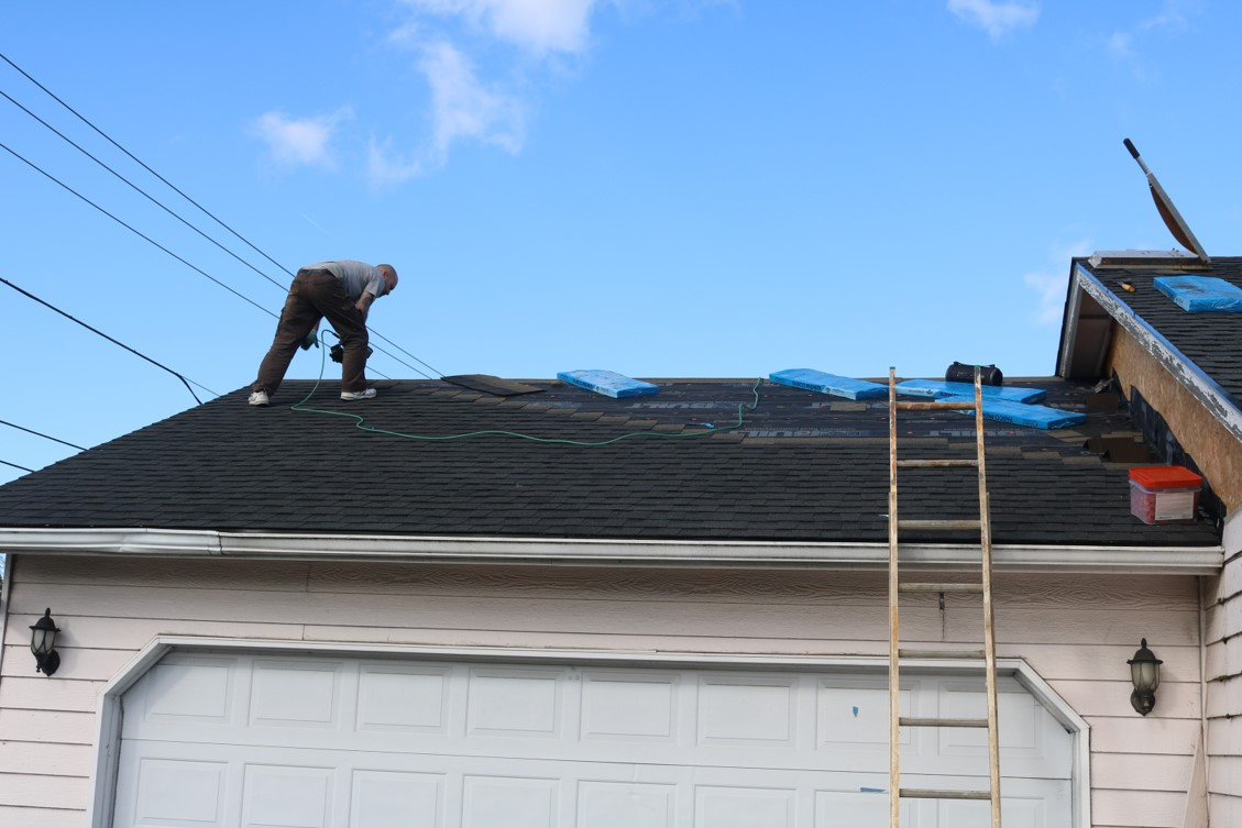Roofing installation dry in